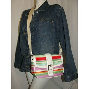 Multi-colored Striped Shoulder Bag Handbag #10701